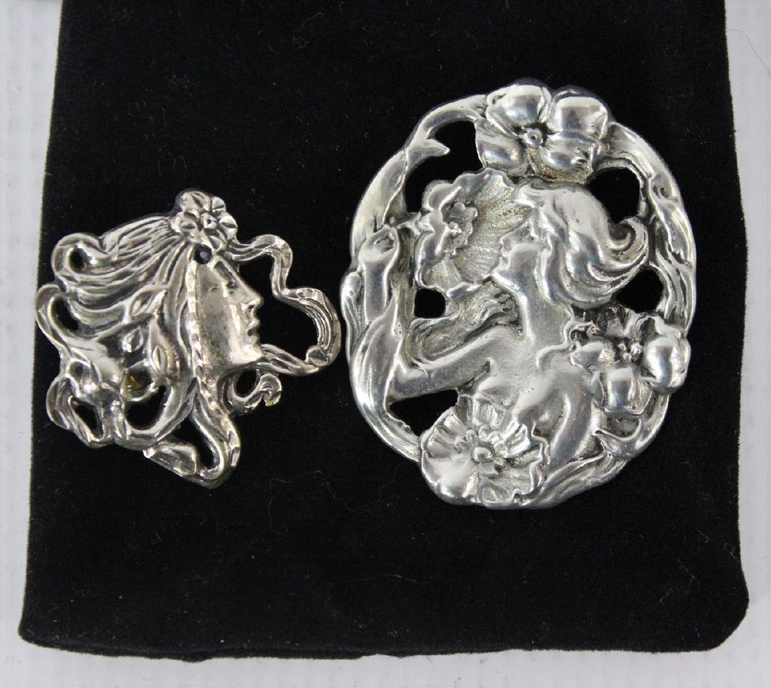 Pair of Vintage Art Nouveau Style Brooches
