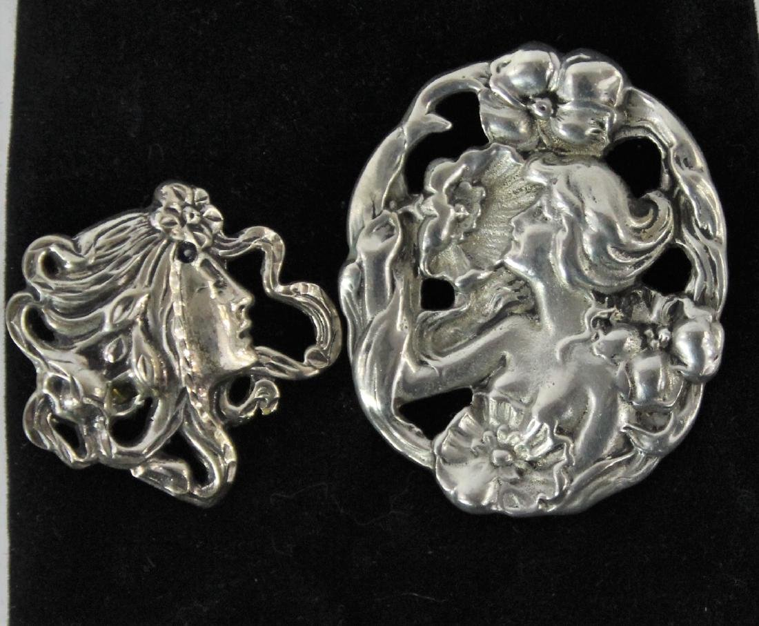 Pair of Vintage Art Nouveau Style Brooches - 3