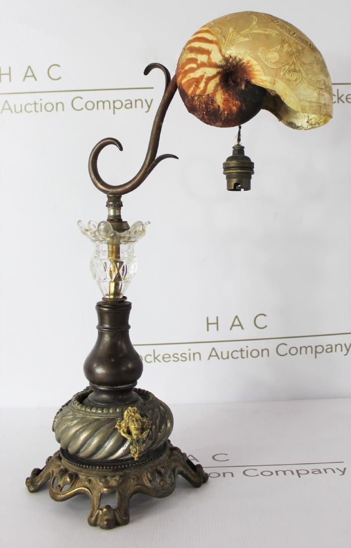 Antique Art Nouveau Nautilus Shell Lamp