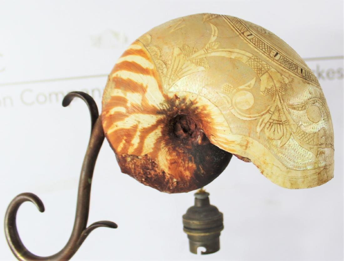 Antique Art Nouveau Nautilus Shell Lamp - 5