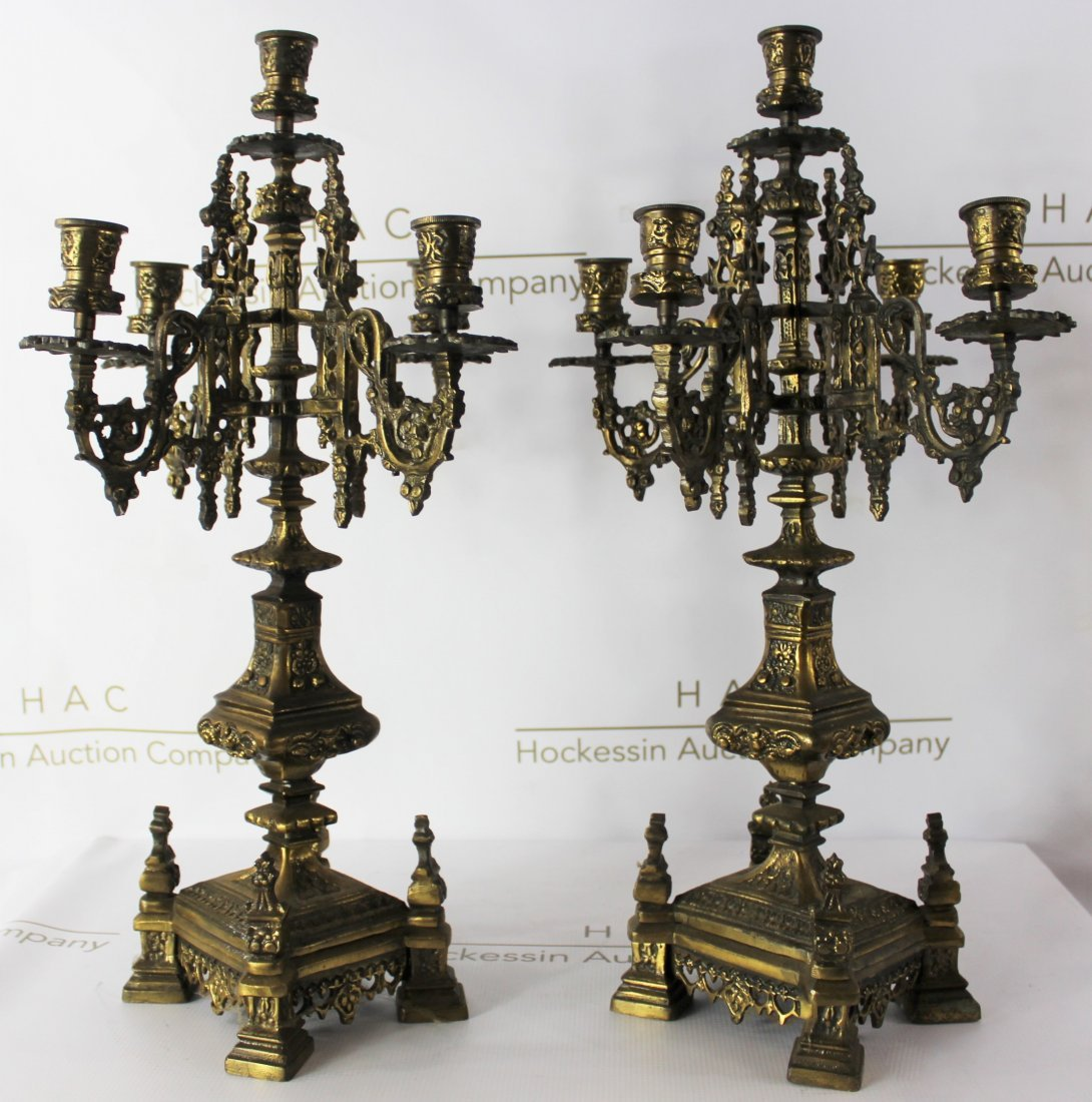 Pair of 19th C. French Gilt Bronze Candelabra
