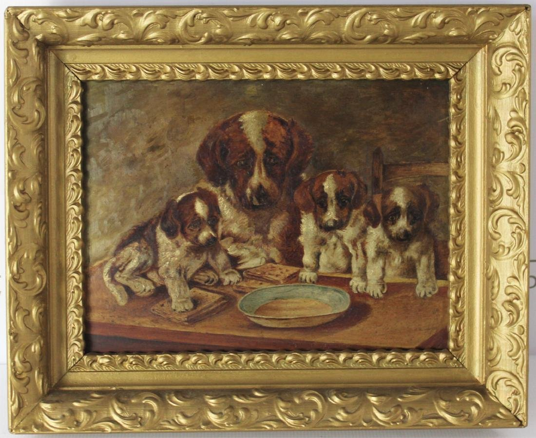 Antique British Painting of Dogs