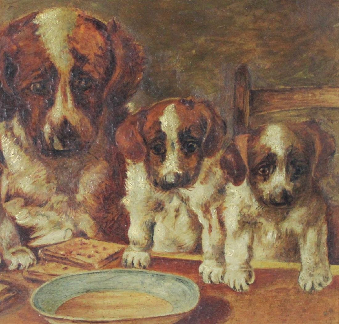 Antique British Painting of Dogs - 3