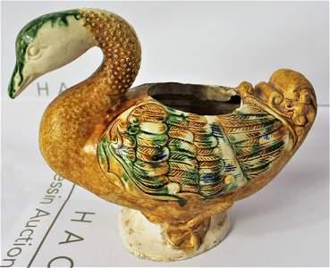 Tang Dynasty Blue and Sancai Glazed Duck