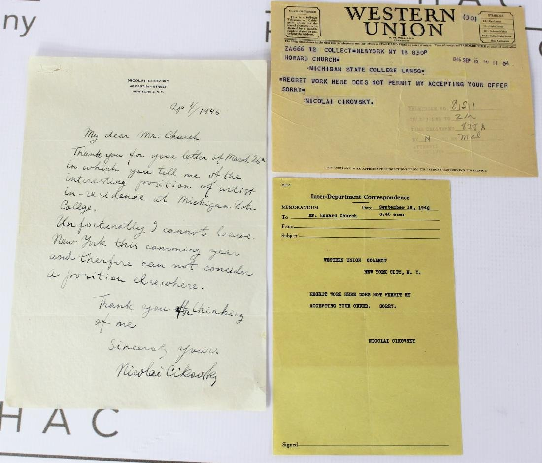 Letter signed by Nicolai Cikovsky