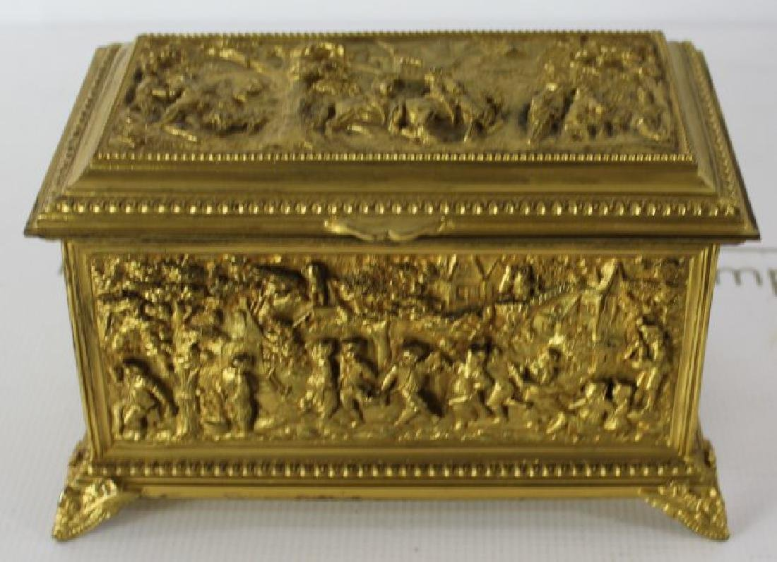 French Gilt Metal Jewelry Box