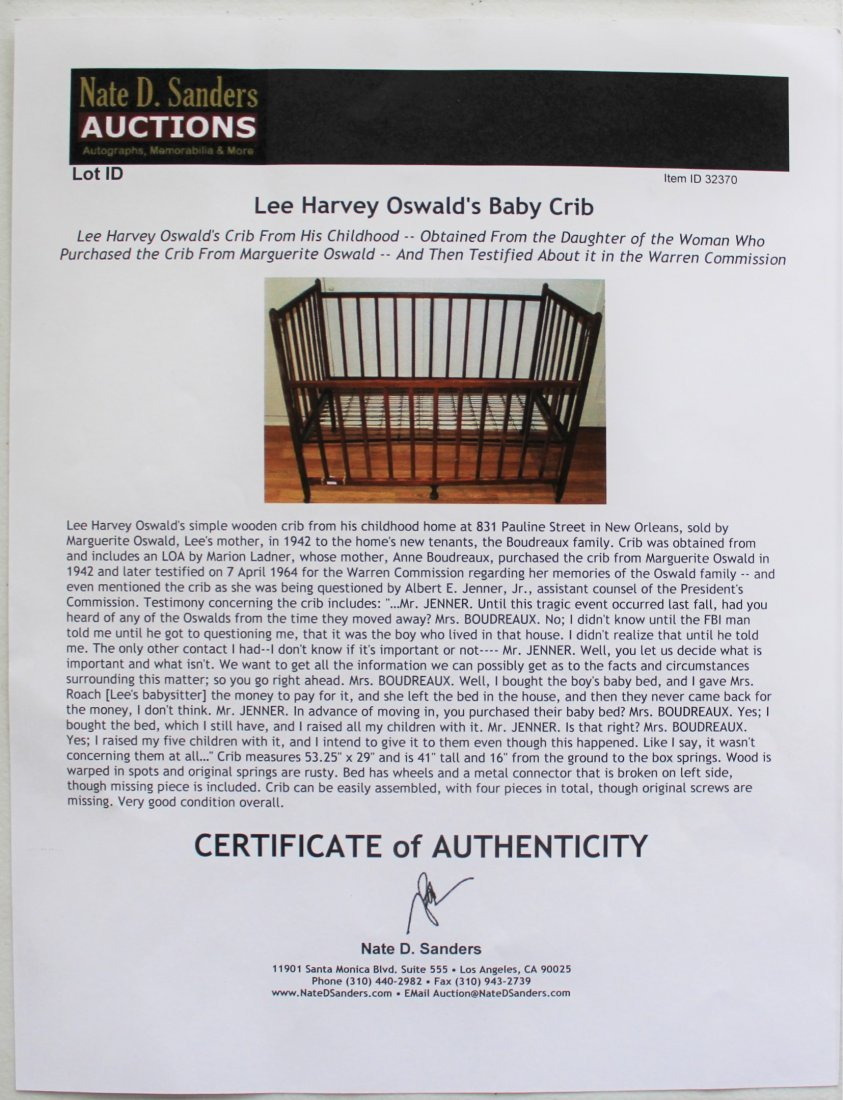 Lee Harvey Oswald's Baby Crib - 2