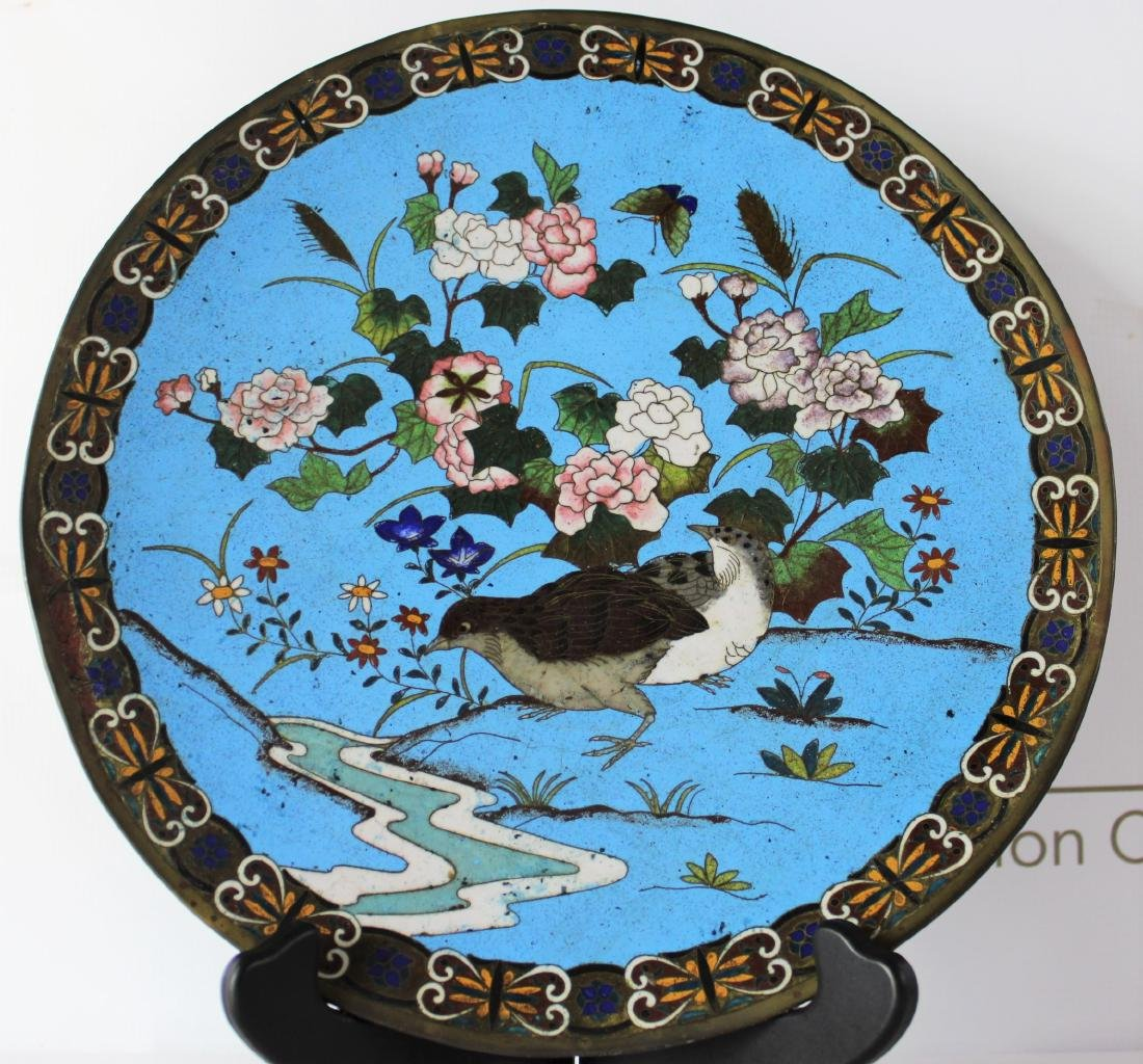 Japanese Cloisonne Enamel Plate - 2