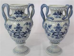 Dresden Snake Handle Vases