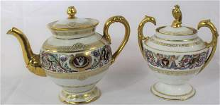 Sevres Teapot and Sugarbowl