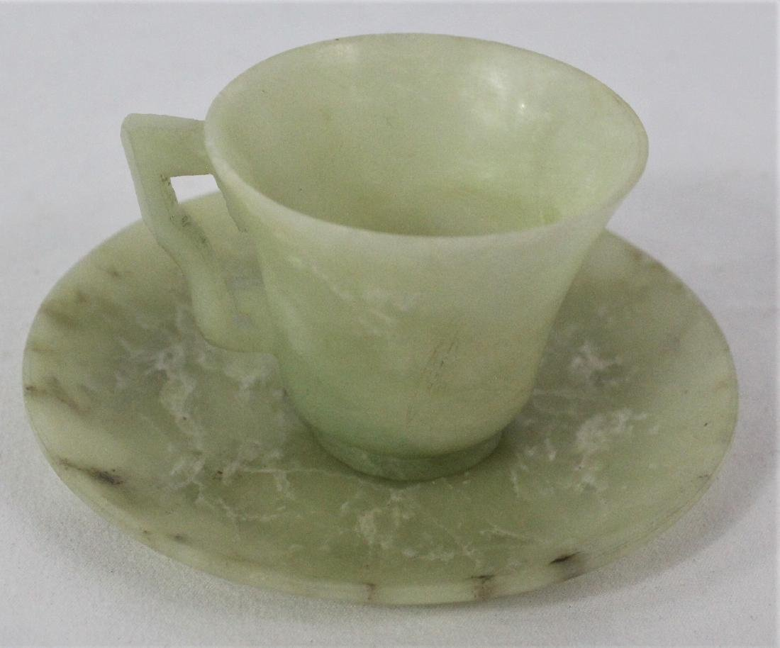 Chinese Jade Cup and Saucer - 4