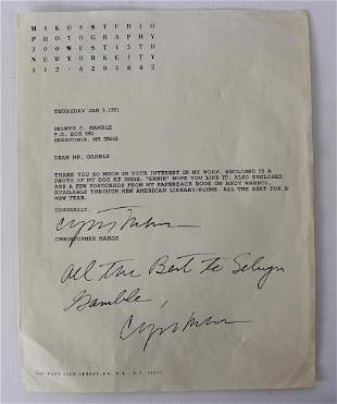 Letter Signed by Christopher Makos