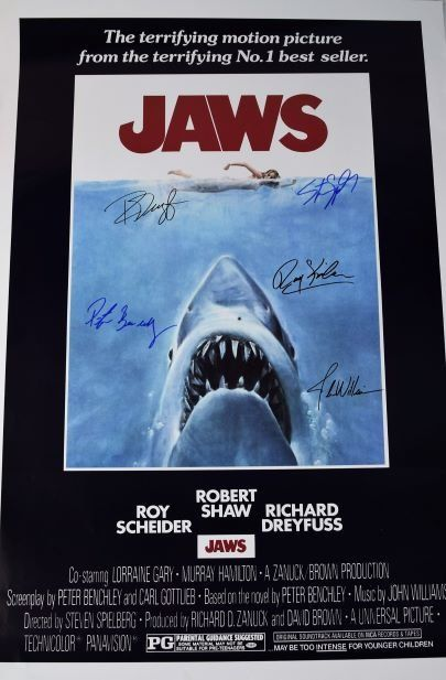 Jaws Cast Signed Movie Poster
