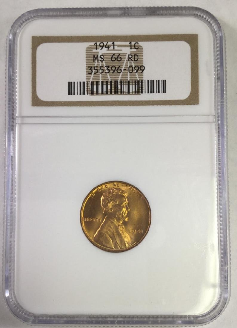 1941 1 CENT LINCOLN PENNY MS66 RD