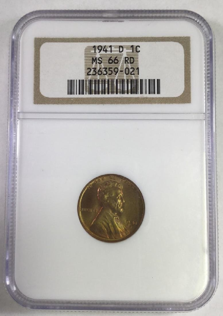 1941D 1 CENT LINCOLN PENNY MS66 RD