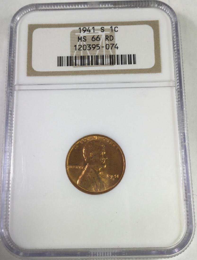 1941 S 1 CENT LINCOLN PENNY MS66 RD