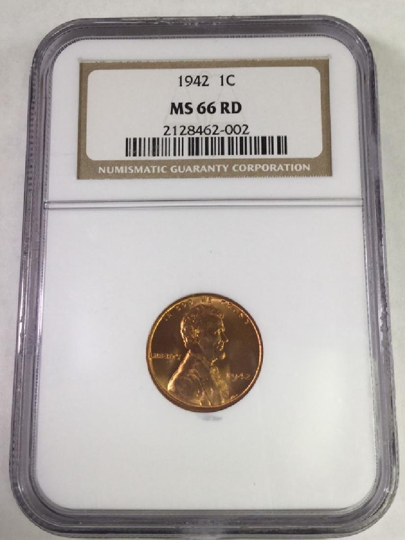 1942 1 CENT LINCOLN PENNY MS66 RD