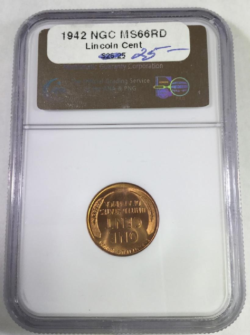 1942 1 CENT LINCOLN PENNY MS66 RD - 2