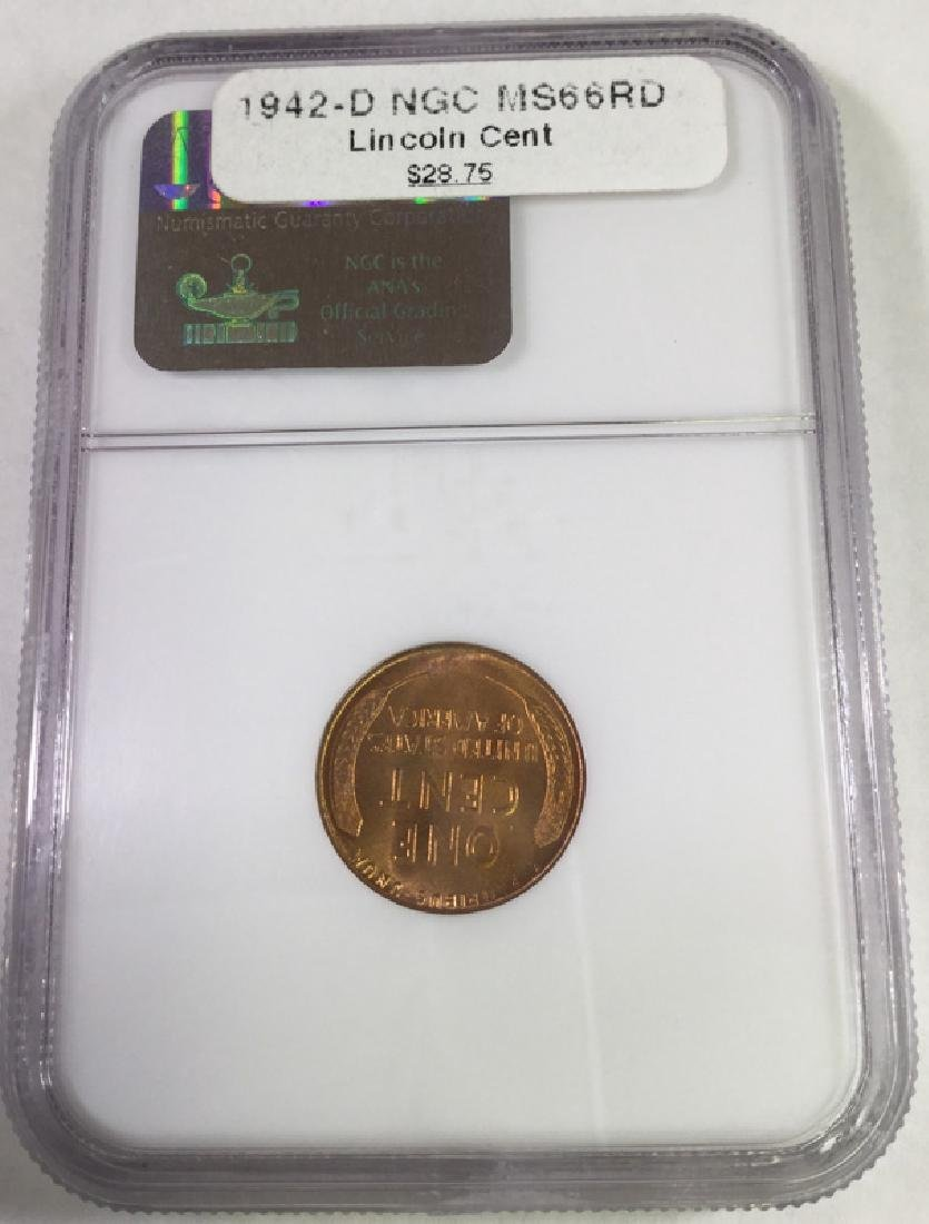 1942 D 1 CENT LINCOLN PENNY MS66 RD - 2