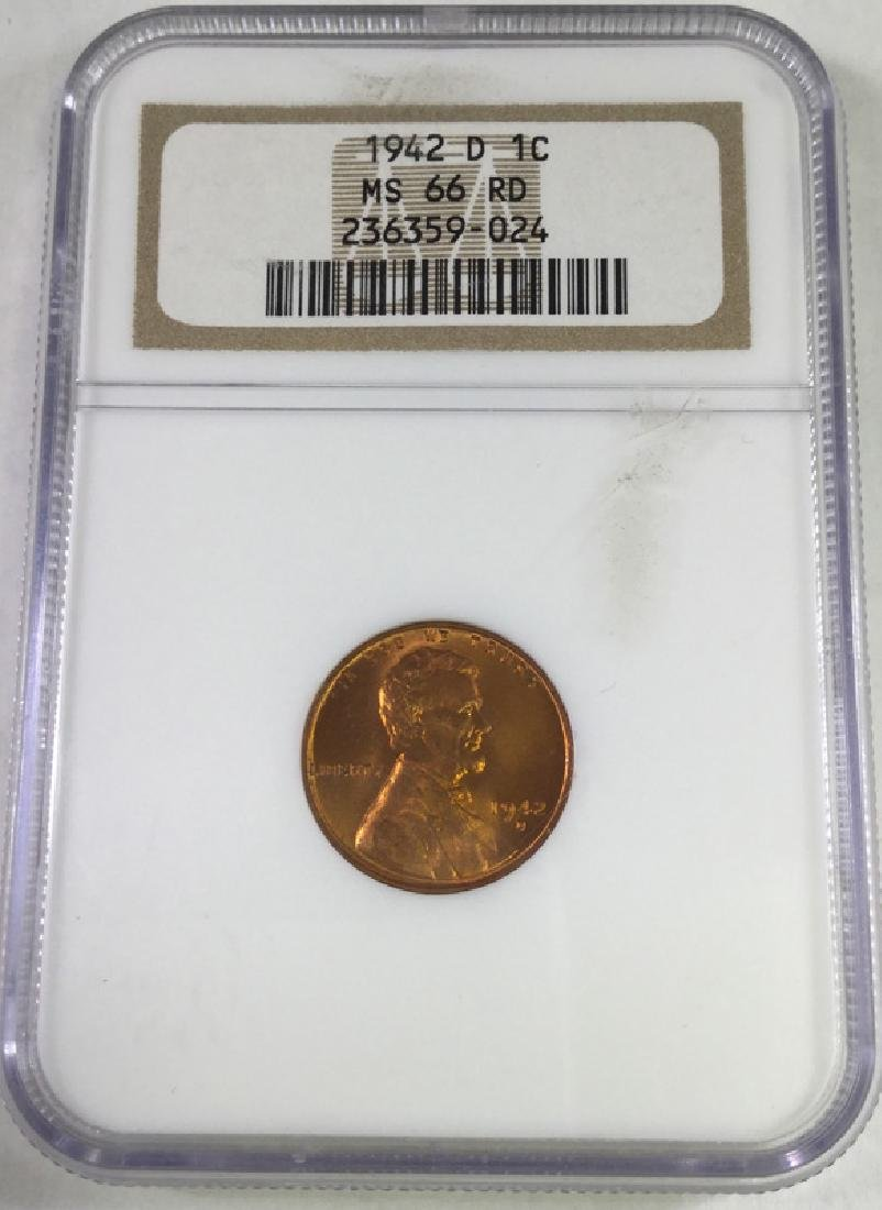 1942 D 1 CENT LINCOLN PENNY MS66 RD