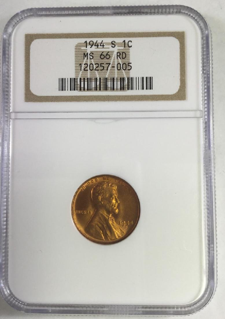 1944S 1 CENT LINCOLN PENNY MS66 RD