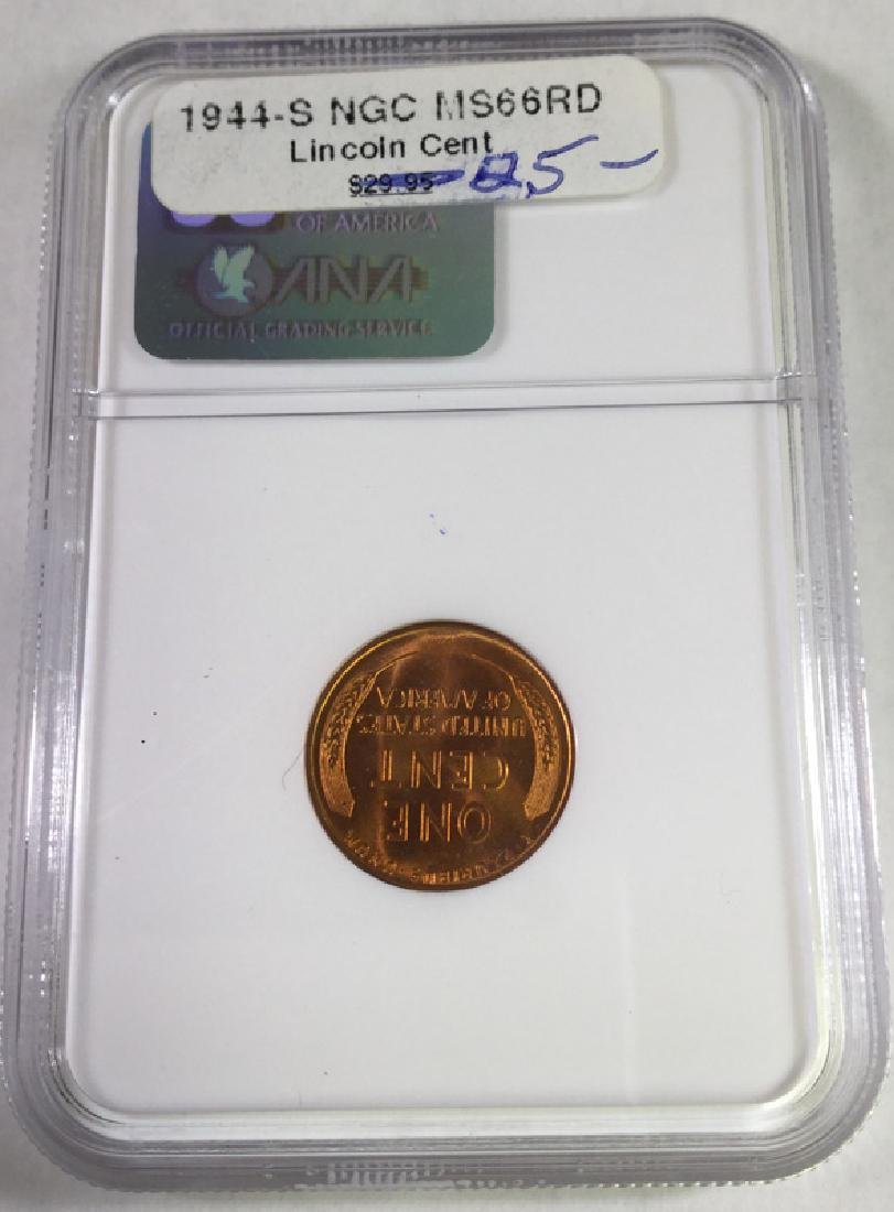1944S 1 CENT LINCOLN PENNY MS66 RD - 2