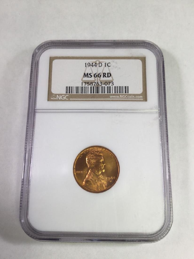 1944D 1 CENT LINCOLN PENNY MS66 RD