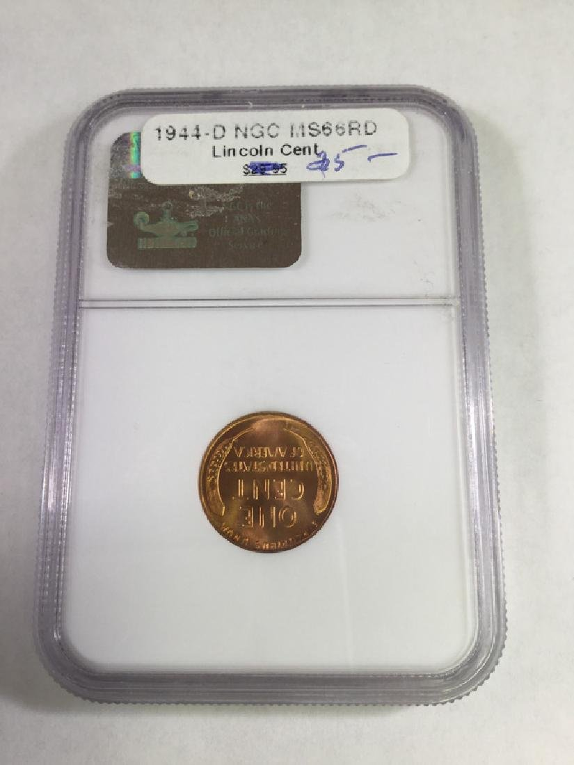 1944D 1 CENT LINCOLN PENNY MS66 RD - 2