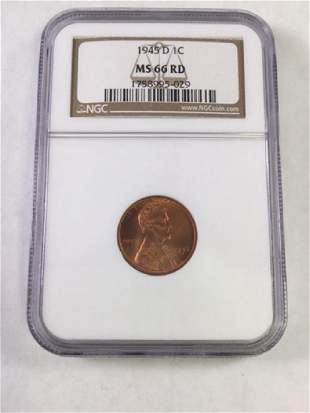 1945D 1 CENT LINCOLN PENNY MS66 RD