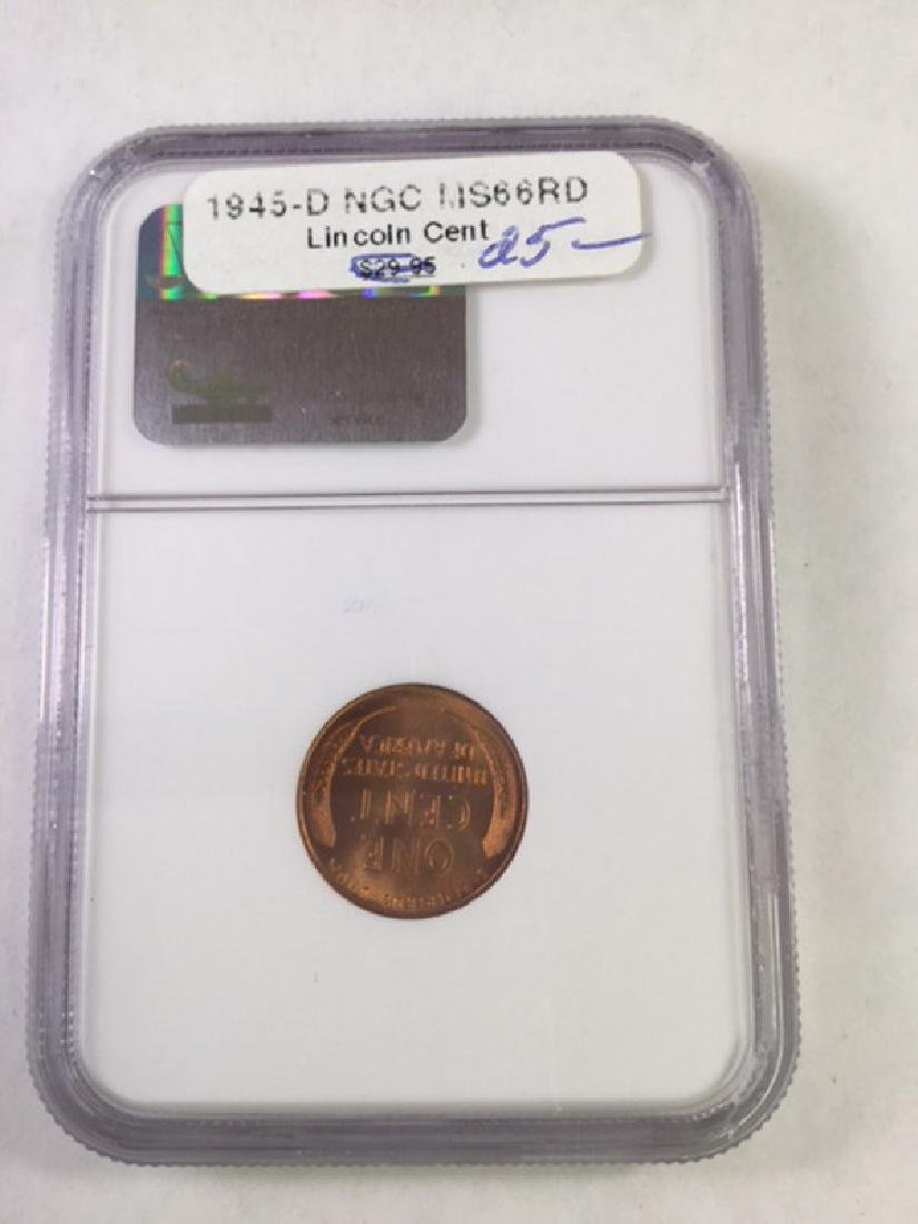 1945D 1 CENT LINCOLN PENNY MS66 RD - 2