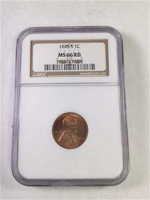 1945S 1 CENT LINCOLN PENNY MS66 RD