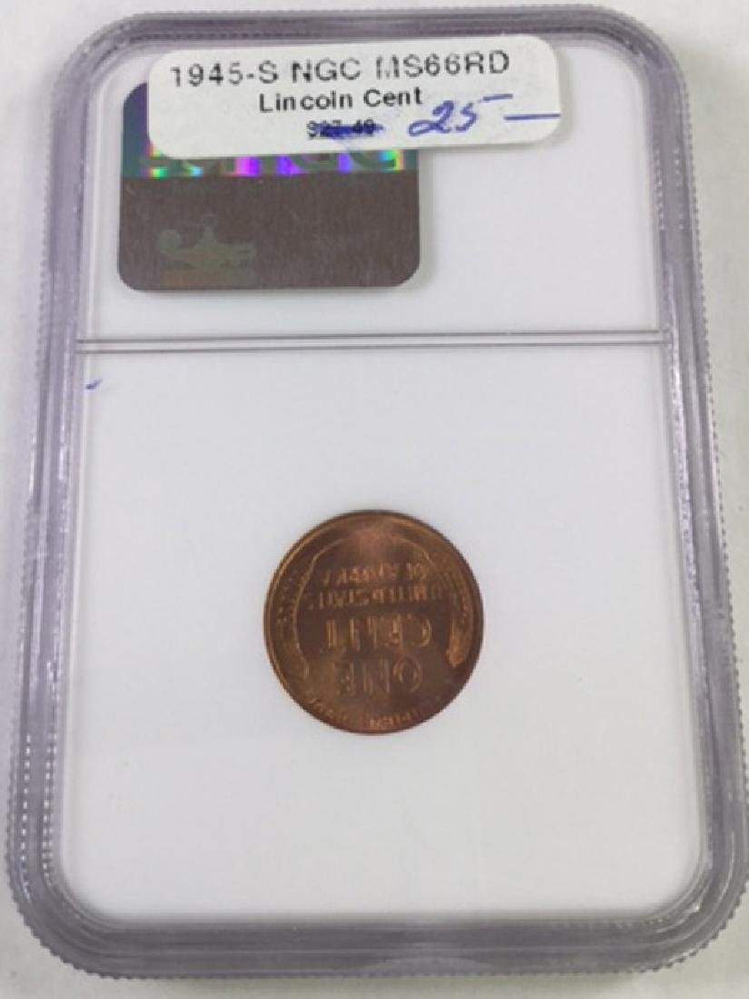 1945S 1 CENT LINCOLN PENNY MS66 RD - 2