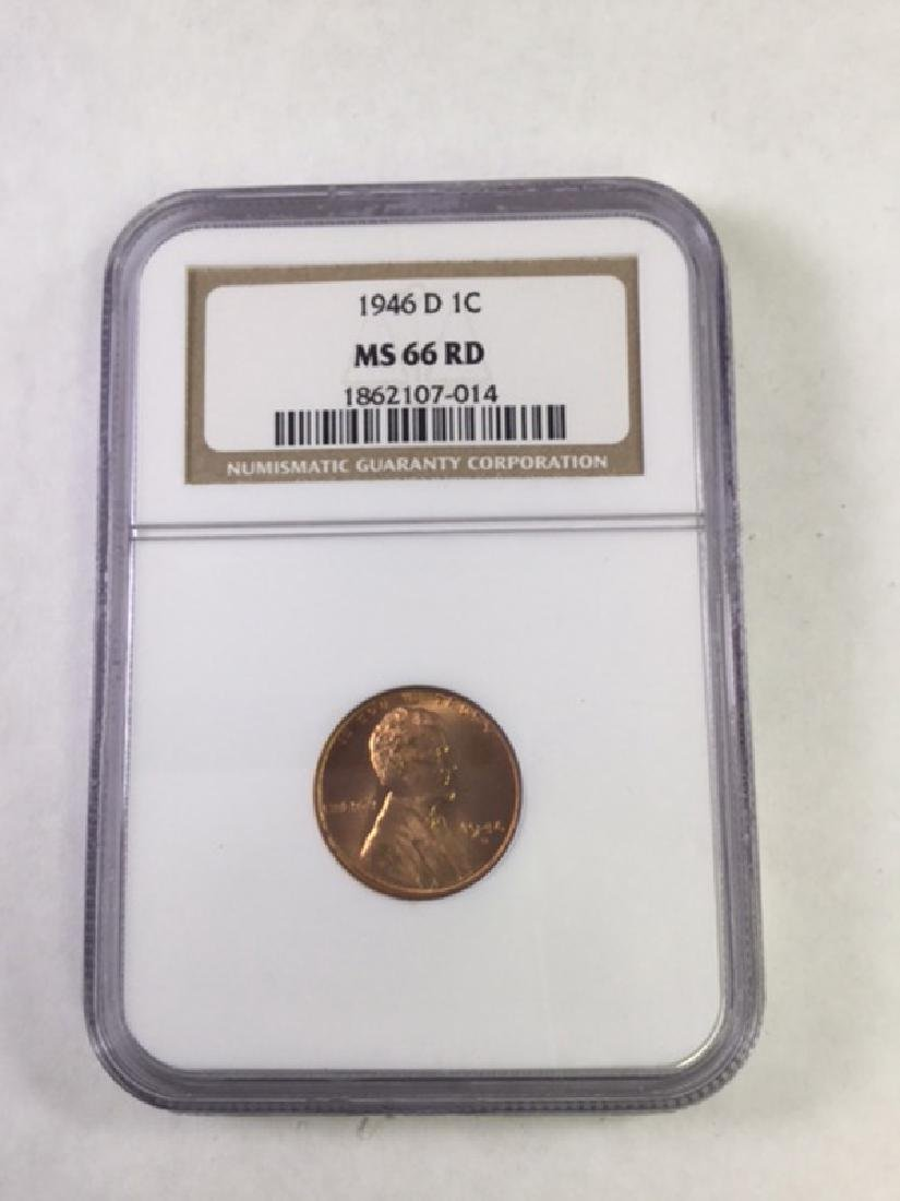 1946D 1 CENT LINCOLN PENNY MS66 RD