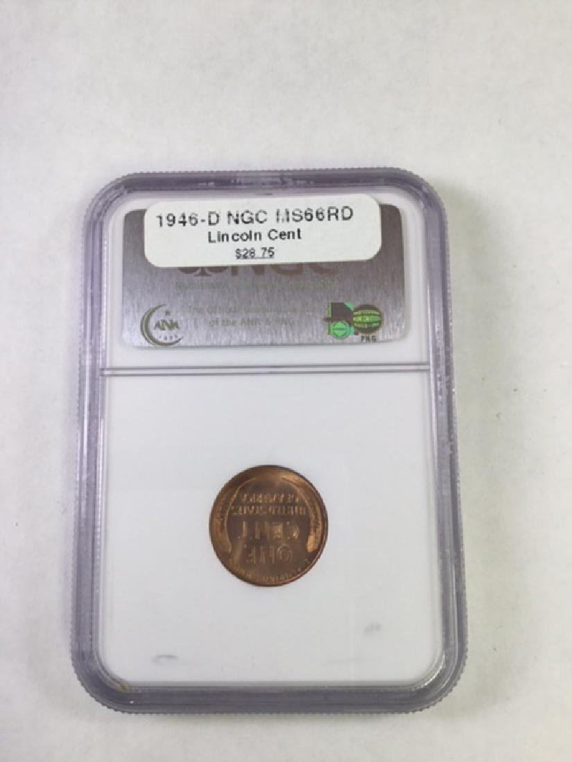 1946D 1 CENT LINCOLN PENNY MS66 RD - 2