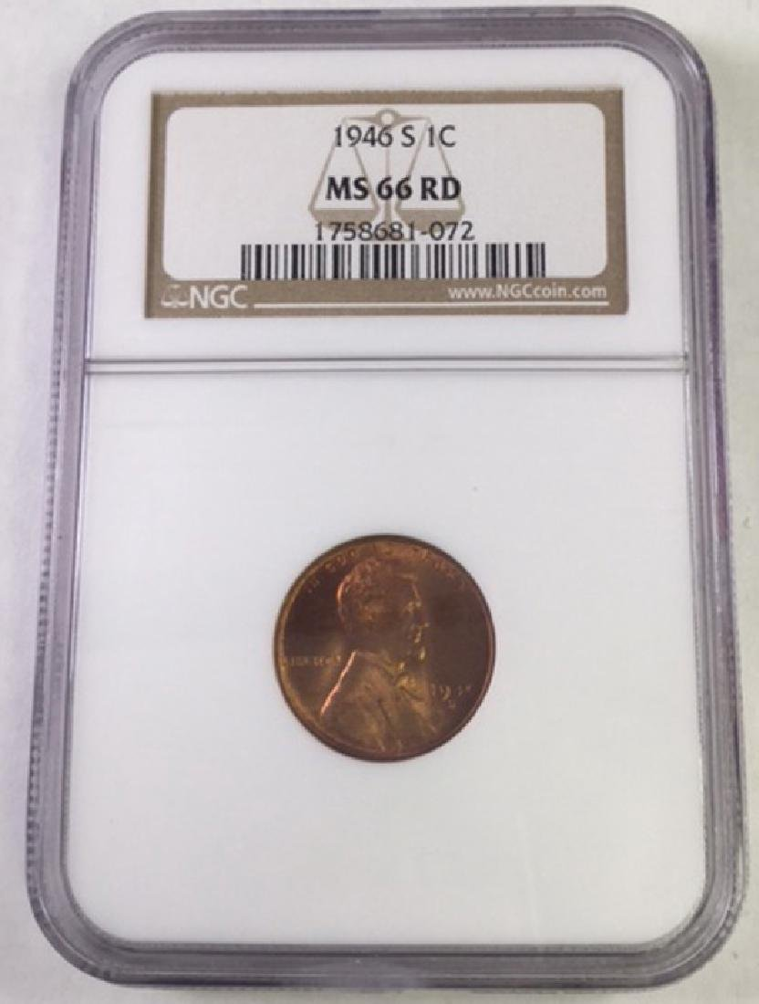 1946S 1 CENT LINCOLN PENNY MS66 RD