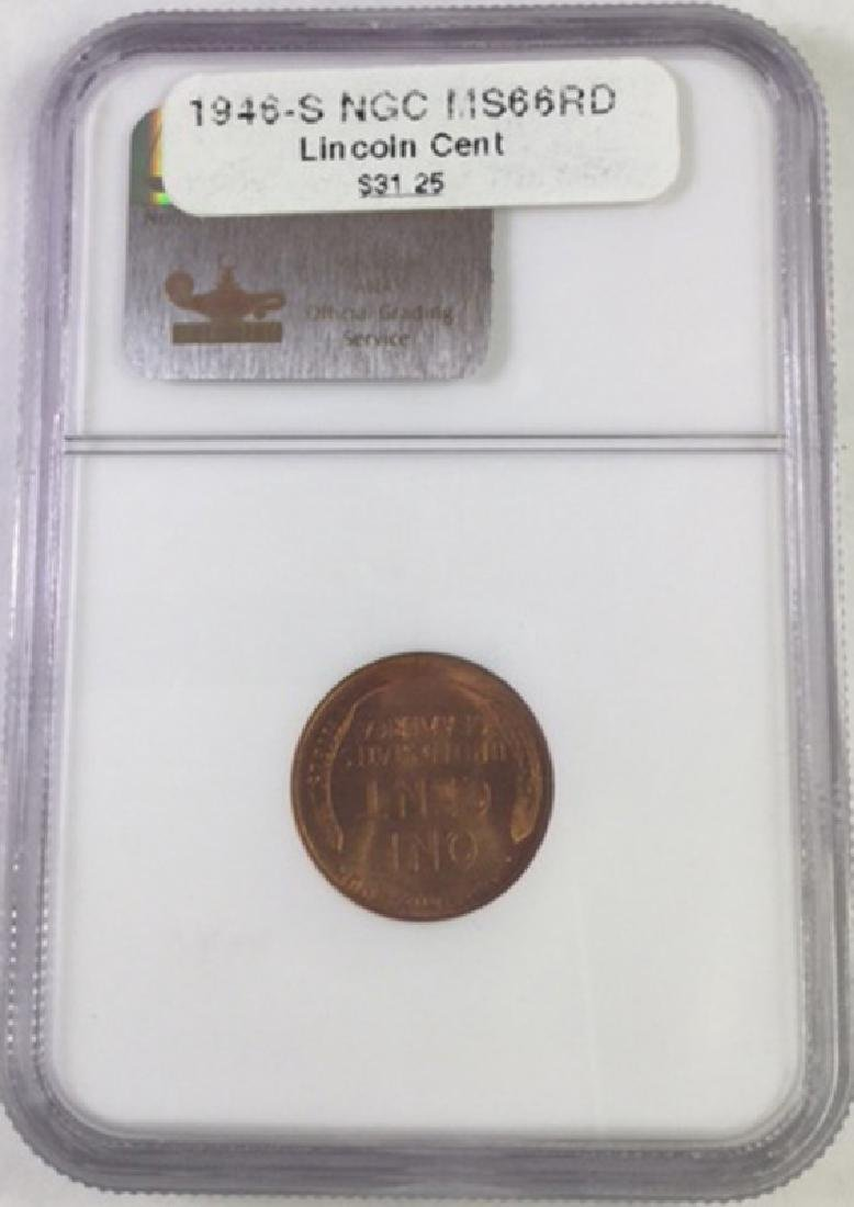 1946S 1 CENT LINCOLN PENNY MS66 RD - 2