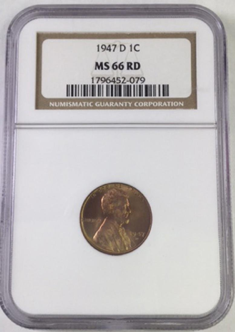 1947 D 1 CENT LINCOLN PENNY MS66 RD