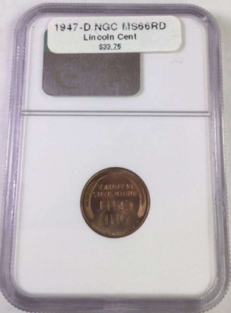 1947 D 1 CENT LINCOLN PENNY MS66 RD - 2