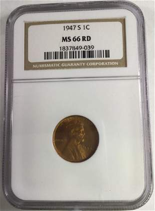 1947 S 1 CENT LINCOLN PENNY MS66 RD