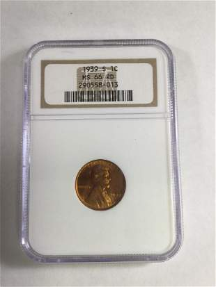 1939S 1 CENT LINCOLN PENNY MS66 RD