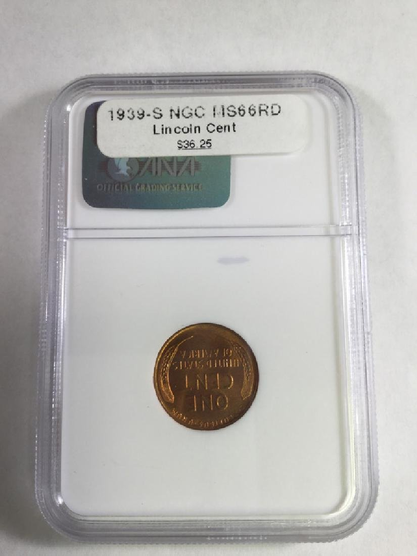 1939S 1 CENT LINCOLN PENNY MS66 RD - 2