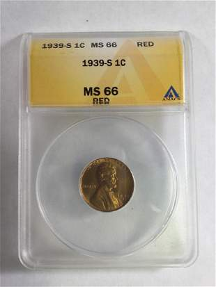 1939 1 CENT LINCOLN PENNY MS66 RD