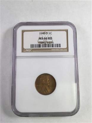 1940 D1 CENT LINCOLN PENNY MS66 RD