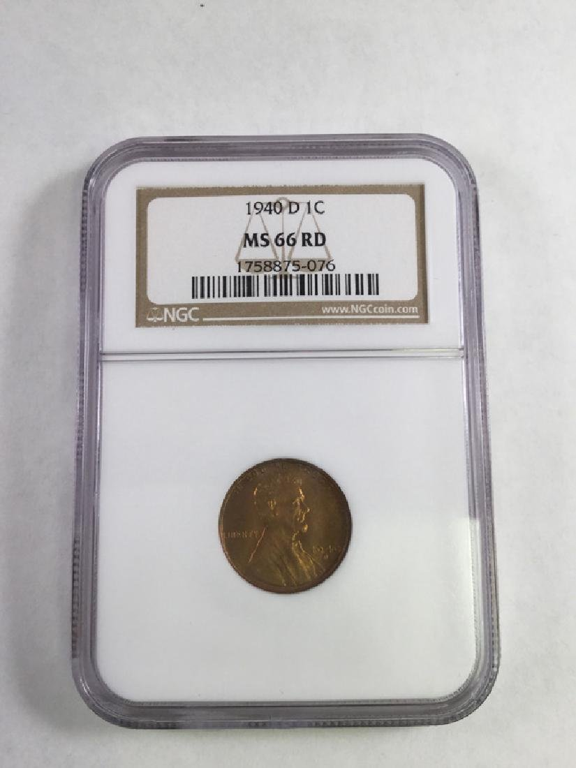 1940 D-1 CENT LINCOLN PENNY MS66 RD