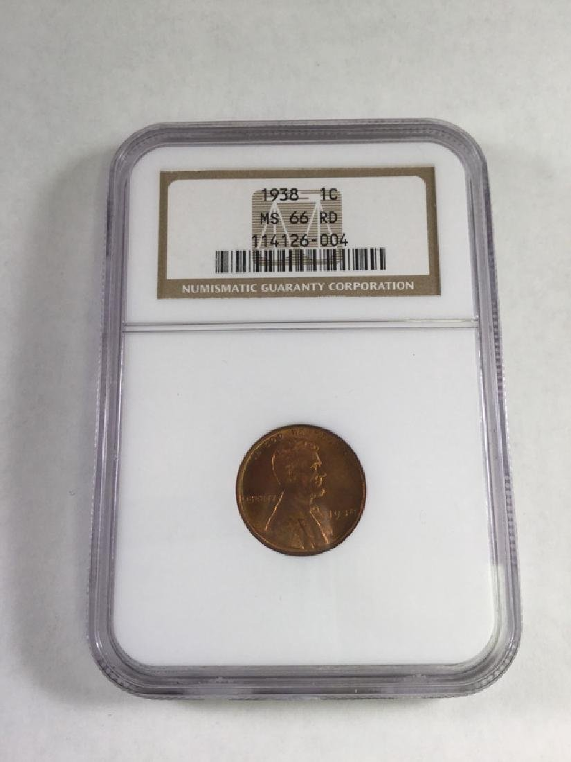 1938 1 CENT LINCOLN PENNY MS66 RD