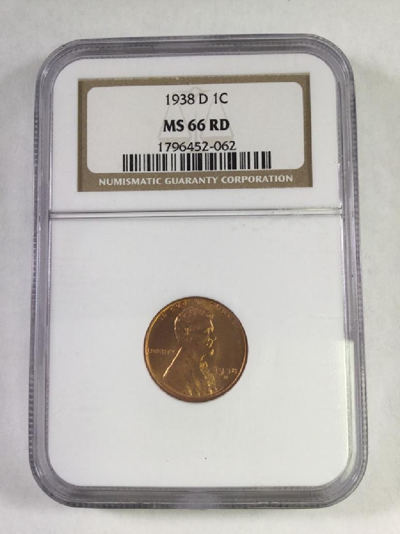 1938 D1 CENT LINCOLN PENNY MS66 RD