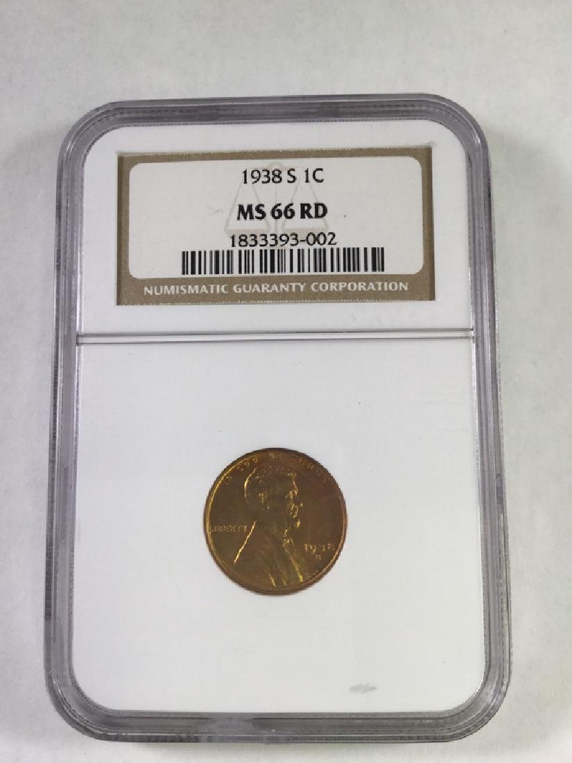 1938 S 1 CENT LINCOLN PENNY MS66 RD
