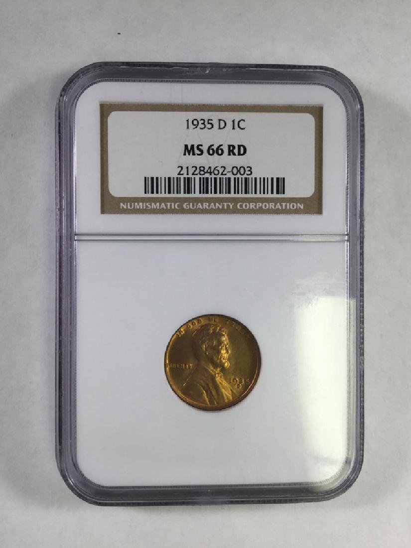 1935D 1 CENT LINCOLN PENNY MS66 RD