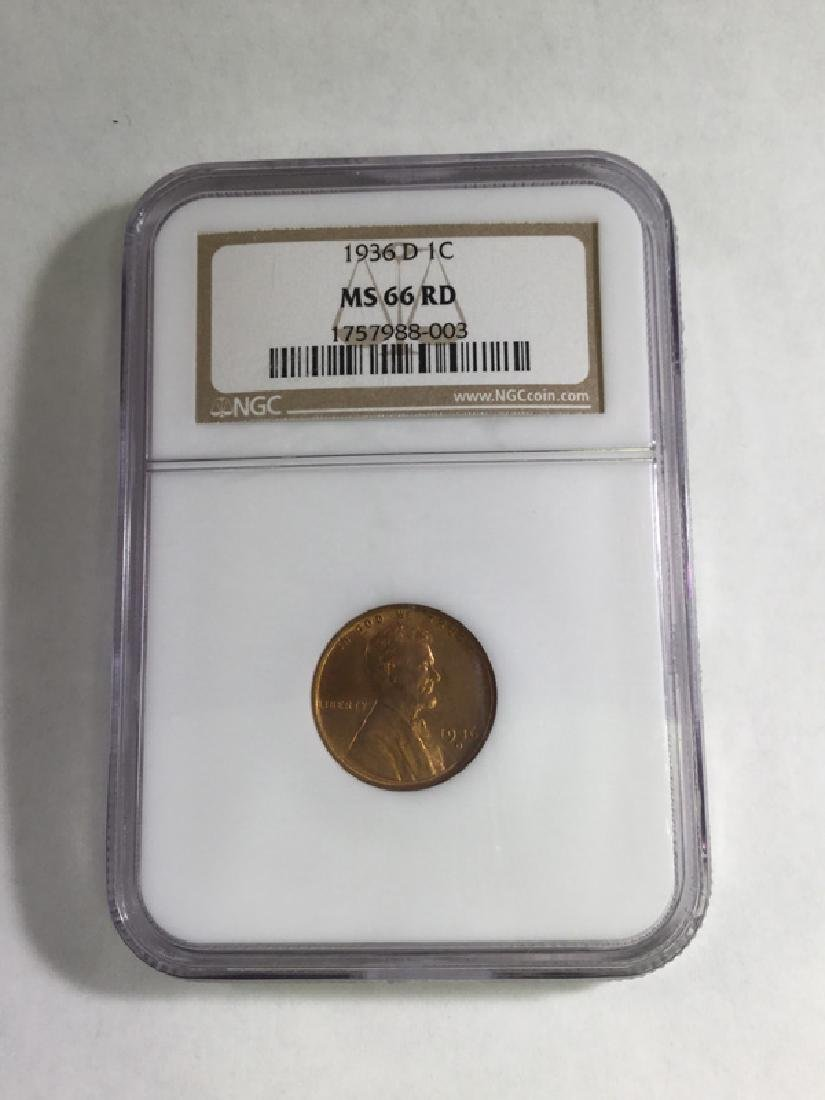 1936D 1 CENT LINCOLN PENNY MS66 RD