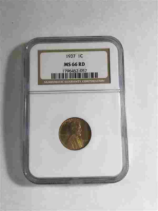 1937 1 CENT LINCOLN PENNY MS66 RD